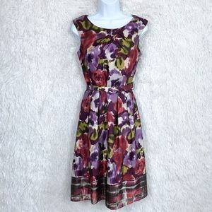 Adrianna Papell | Silk A Lined Belted Dress Size 6